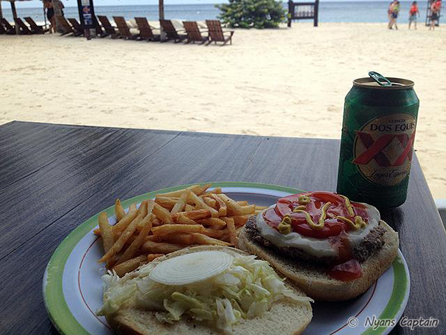 ドスエキスのビアとハンバーガー